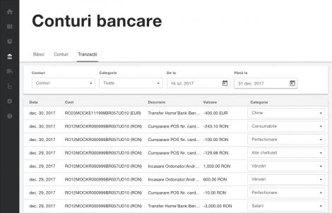 Lista tranzacțiilor din extrasul de cont pe categorii