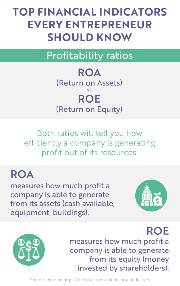 ThinkOut - profitability ratios (return on assets vs return on equity) infographic
